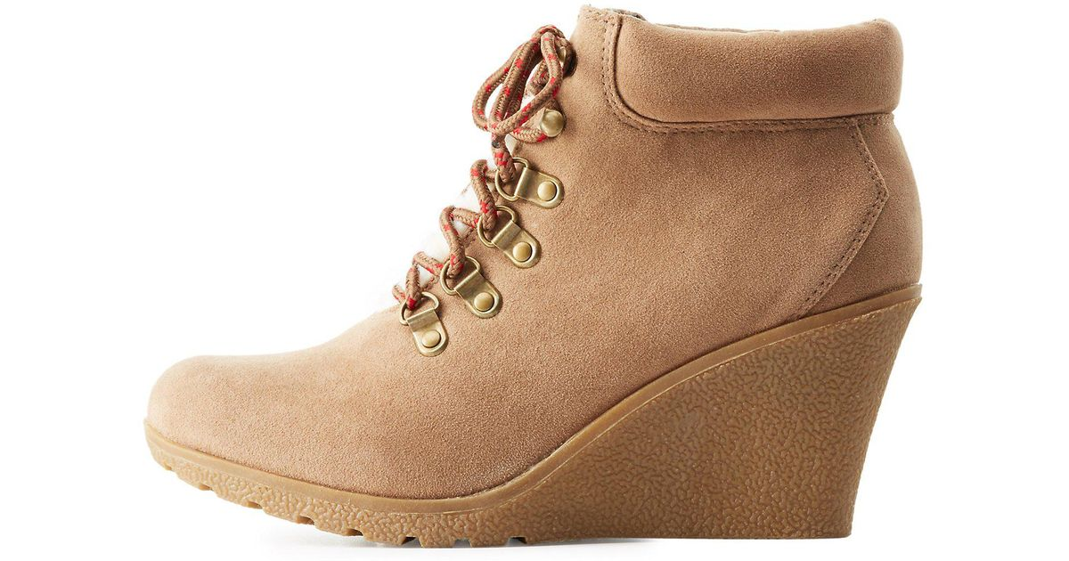 34ed47610c3b Lyst - Charlotte Russe Sherpa-trim Lace-up Wedge Booties in Brown