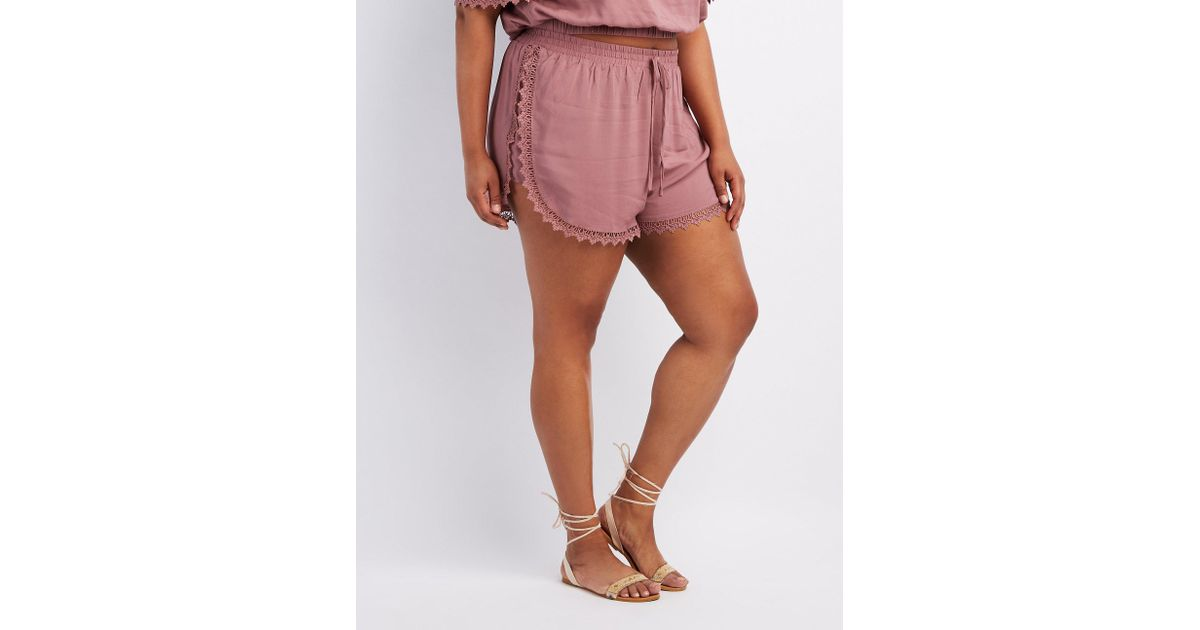 b4cc23961f8 Lyst - Charlotte Russe Plus Size Crochet-trim Dolphin Shorts in Purple