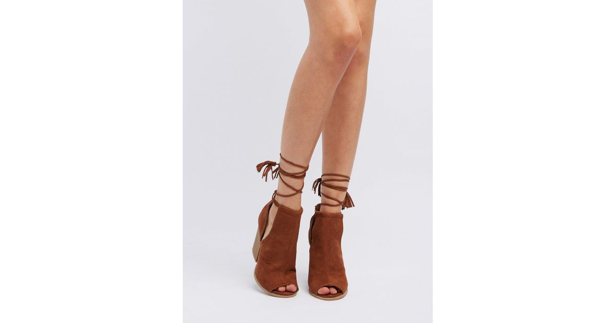 d3890e99fb79 Lyst - Charlotte Russe Qupid Cut-out Peep Toe Ankle Booties in Brown