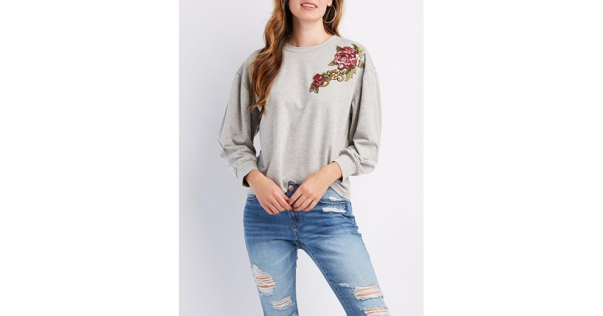 0a6d3cdb5f95c Lyst - Charlotte Russe Floral And Sequin Detail Pullover Sweatshirt in Gray