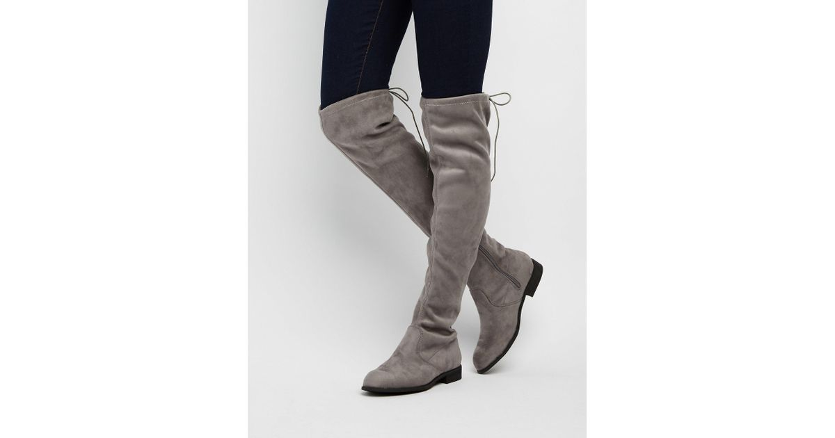 ef341dc64c4 Lyst - Charlotte Russe Drawstring Flat Over-the-knee Boots in Gray