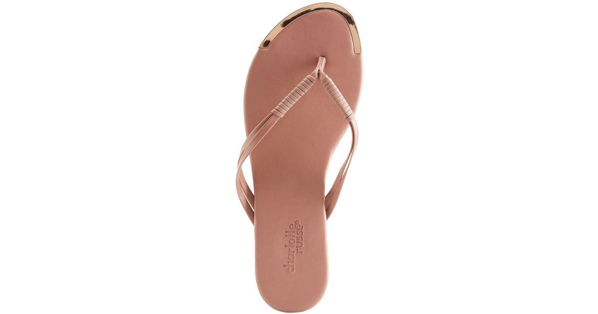 8bc48e600f18 Lyst - Charlotte Russe Braided Metallic-trimmed Flip Flop Sandals in Purple