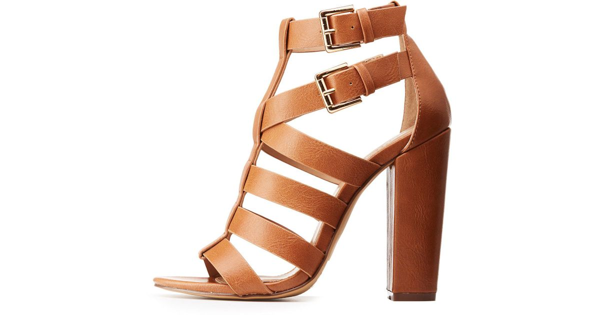 a3caab9a1f9 Charlotte Russe - Brown Strappy Block Heel Sandals - Lyst