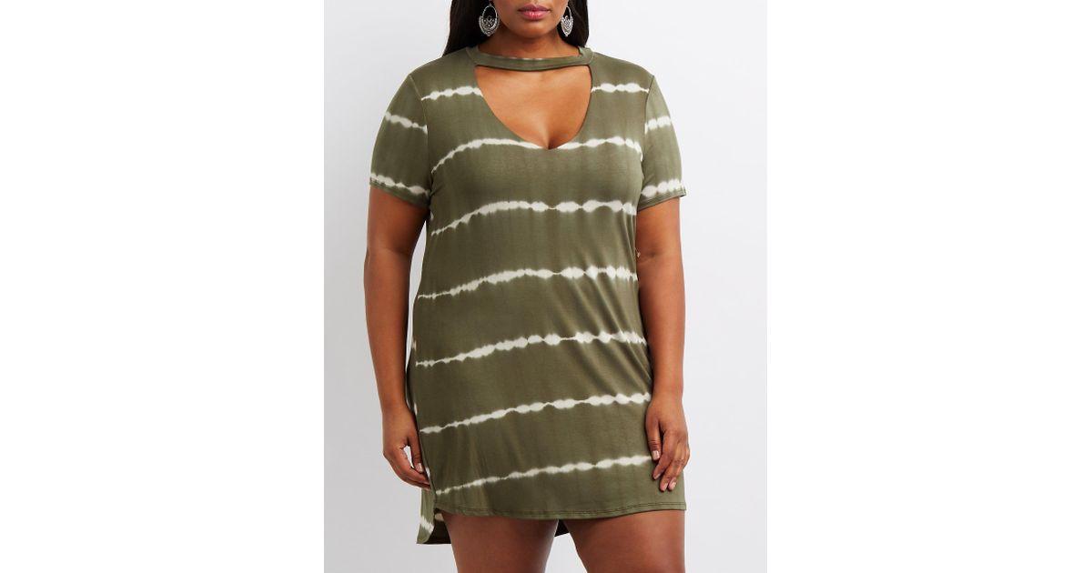 16f6420cf16 Lyst - Charlotte Russe Plus Size Tie-dye T-shirt Dress in Green