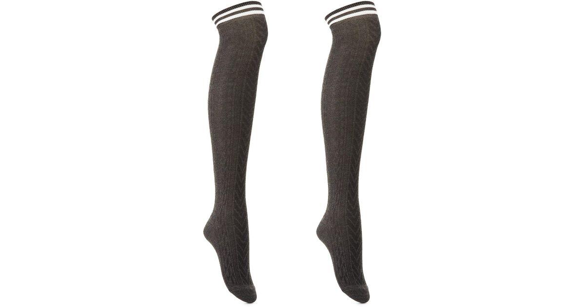4ed9816f2c0 Lyst - Charlotte Russe Varsity Stripe Knee-high Socks in Gray