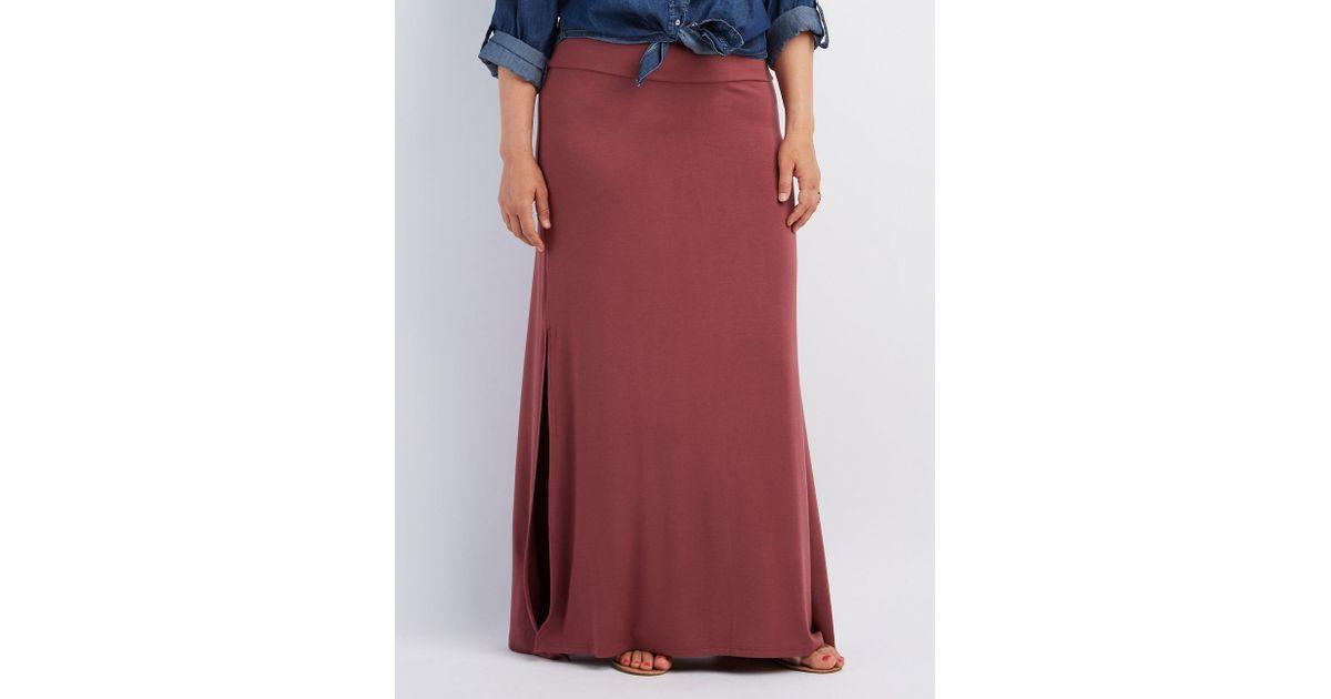 dd531c0fdde Lyst - Charlotte Russe Plus Size Double Slit Maxi Skirt