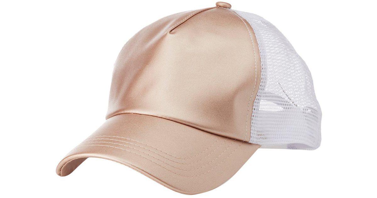 ecd13f3fb8ee82 Lyst - Charlotte Russe Metallic Faux Leather Trucker Hat in Pink