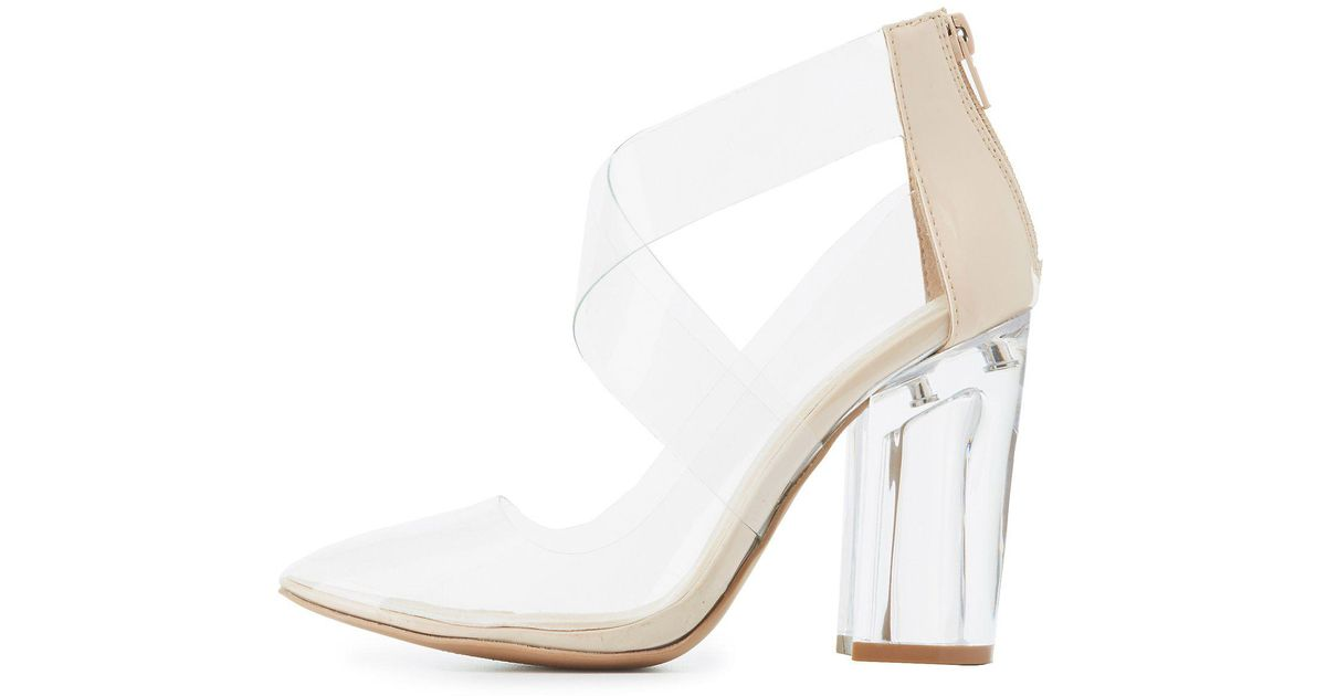 Lyst - Charlotte Russe Qupid Clear Strappy Lucite Heels