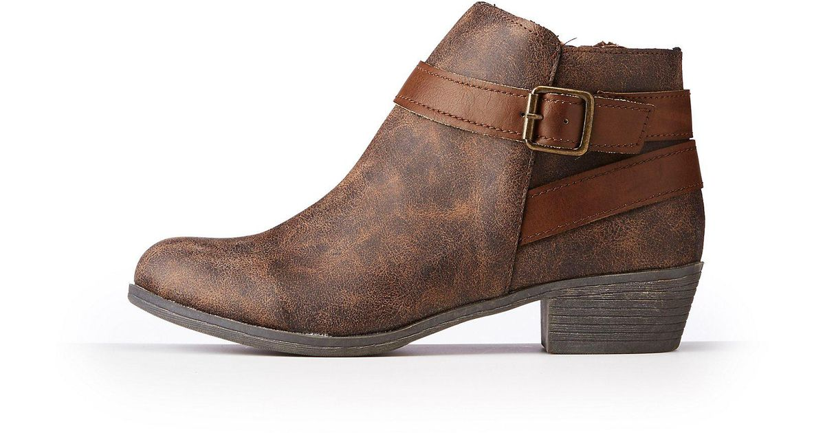 9d98f27ebce8 Lyst - Charlotte Russe Bamboo Harness Ankle Booties in Brown