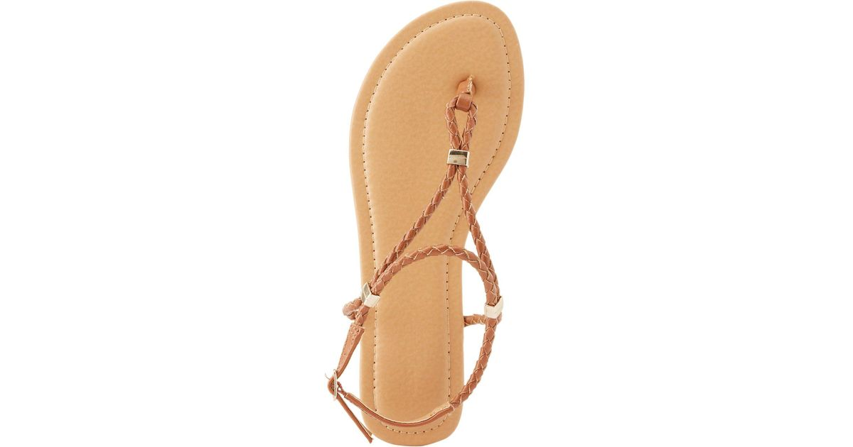 6d8b61e66375 Lyst - Charlotte Russe Braided Thong Sandals in Brown