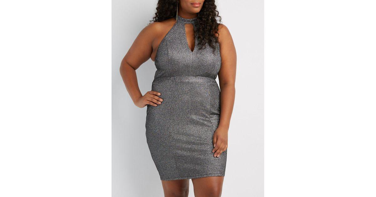d8de8dc08a1 Lyst - Charlotte Russe Plus Size Shimmer Knit Keyhole Bodycon Dress in Gray