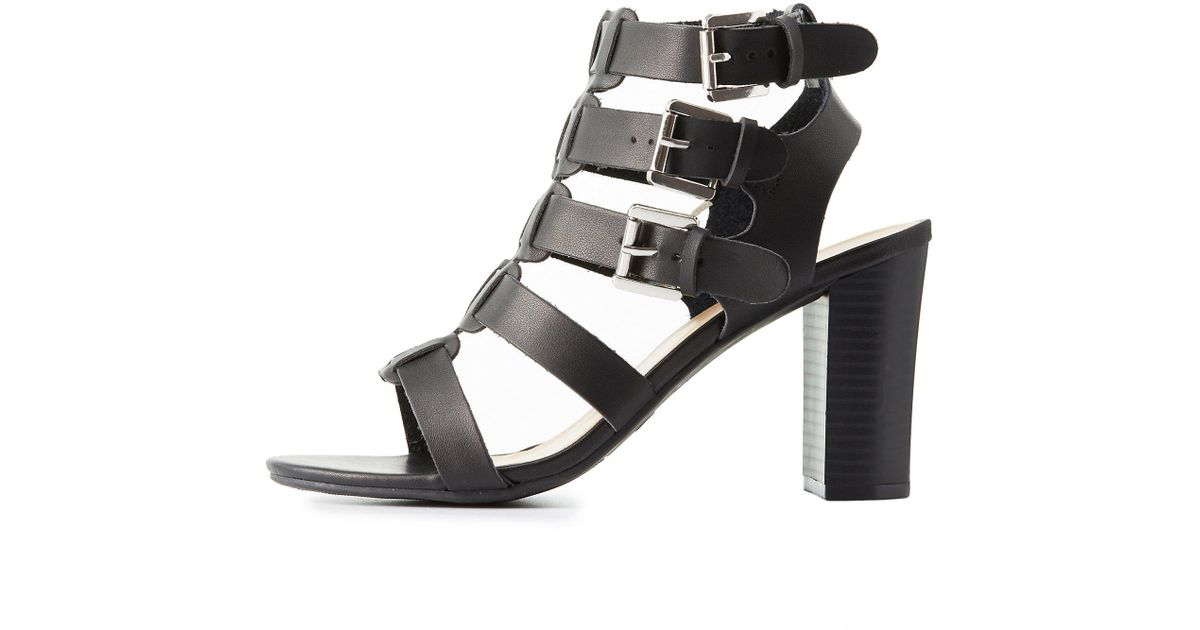 68a3cbb38d15 Lyst - Charlotte Russe Wide Width Buckled Strappy Sandals in Black
