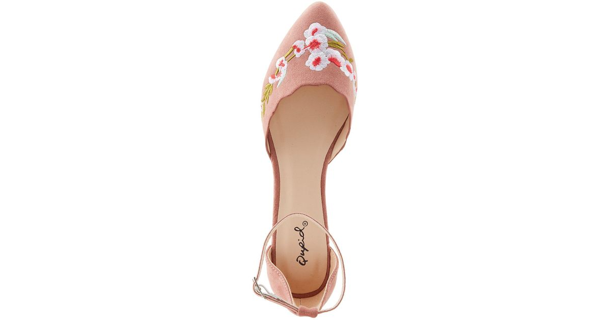 0b2547a2e4a9 Lyst - Charlotte Russe Qupid Embroidered Ankle Strap D orsay Flats in Purple