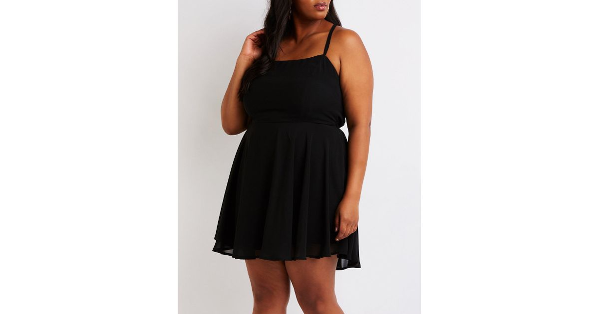 a637261f1cb Lyst - Charlotte Russe Plus Size Lace Up Back Skater Dress in Black