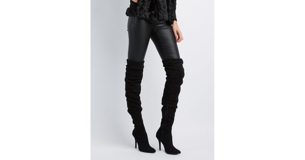 35cbbdb877fa9 Lyst - Charlotte Russe Faux Suede Ruched Pointed Toe Over-the-knee Boots in  Black