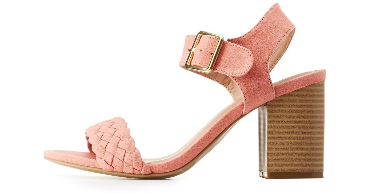 b436e37c4317 Lyst - Charlotte Russe Braided Ankle Strap Sandals in Pink