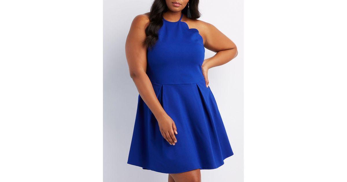 a54b1c3f0c2 Lyst - Charlotte Russe Plus Size Scalloped Bib Neck Skater Dress in Blue