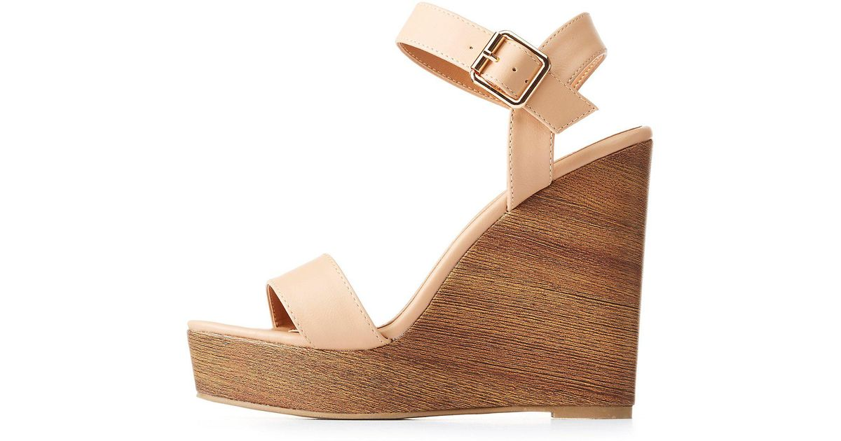 60961762b637 Lyst - Charlotte Russe Ankle Strap Wedge Sandals
