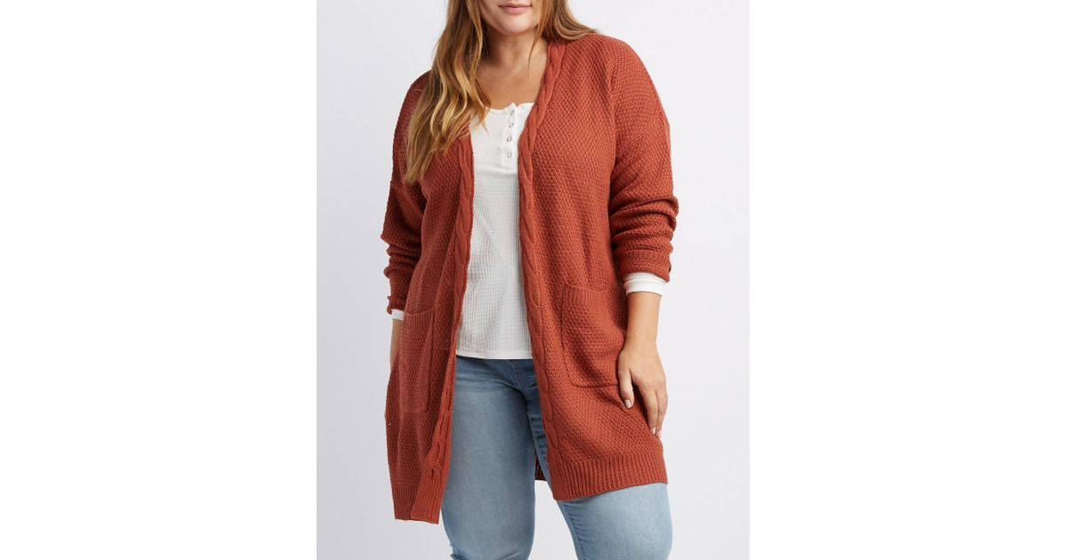33fc8b21c9 Lyst - Charlotte Russe Plus Size Open-front Cable Knit Cardigan in Red