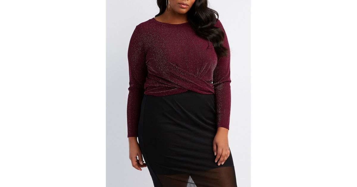 3cb6a4a9e9e61e Lyst - Charlotte Russe Plus Size Knotted Metallic Mesh Top in Purple