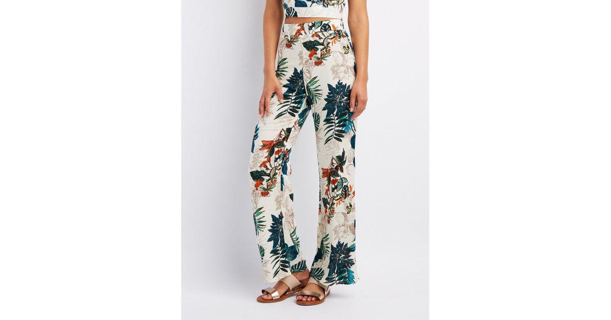 b78436dbd655a Lyst - Charlotte Russe Floral Wide Leg Pants