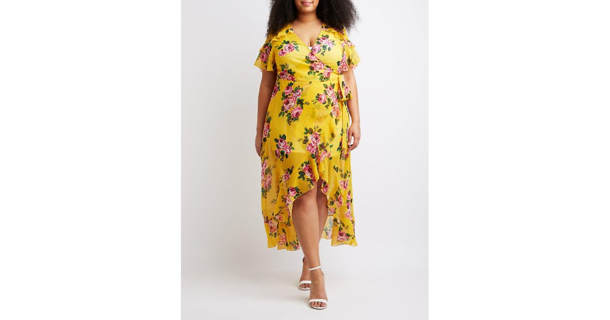 Lyst Charlotte Russe Plus Size Floral Wrap Maxi Dress In Yellow