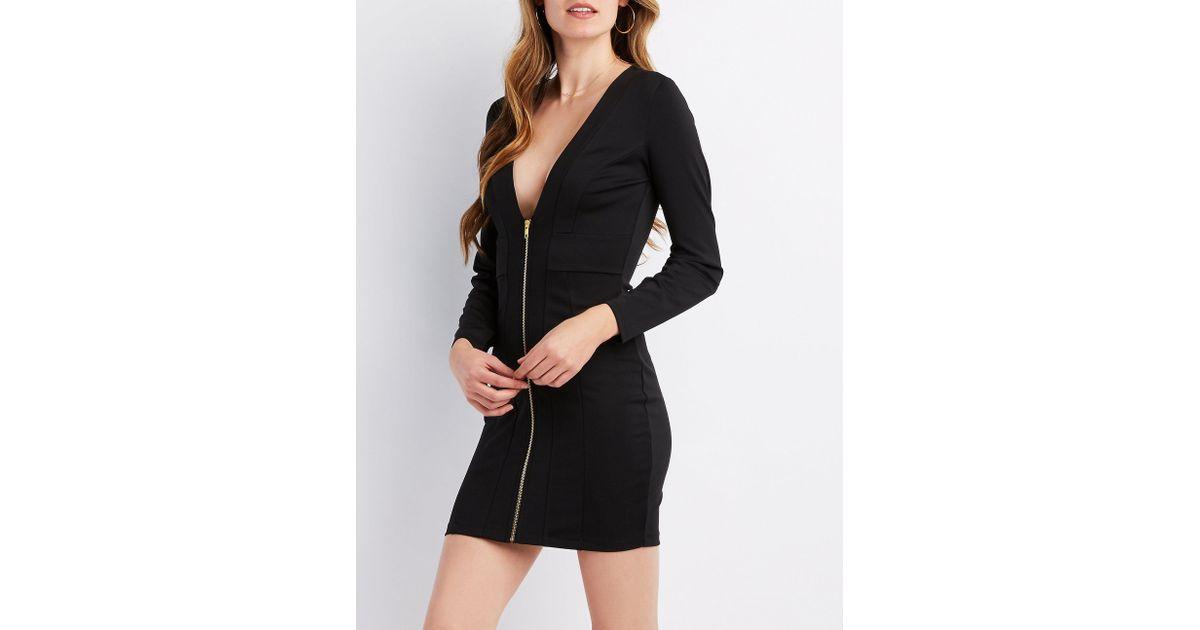 3e63fbac278a Lyst - Charlotte Russe Zip-front Bodycon Mini Dress in Black