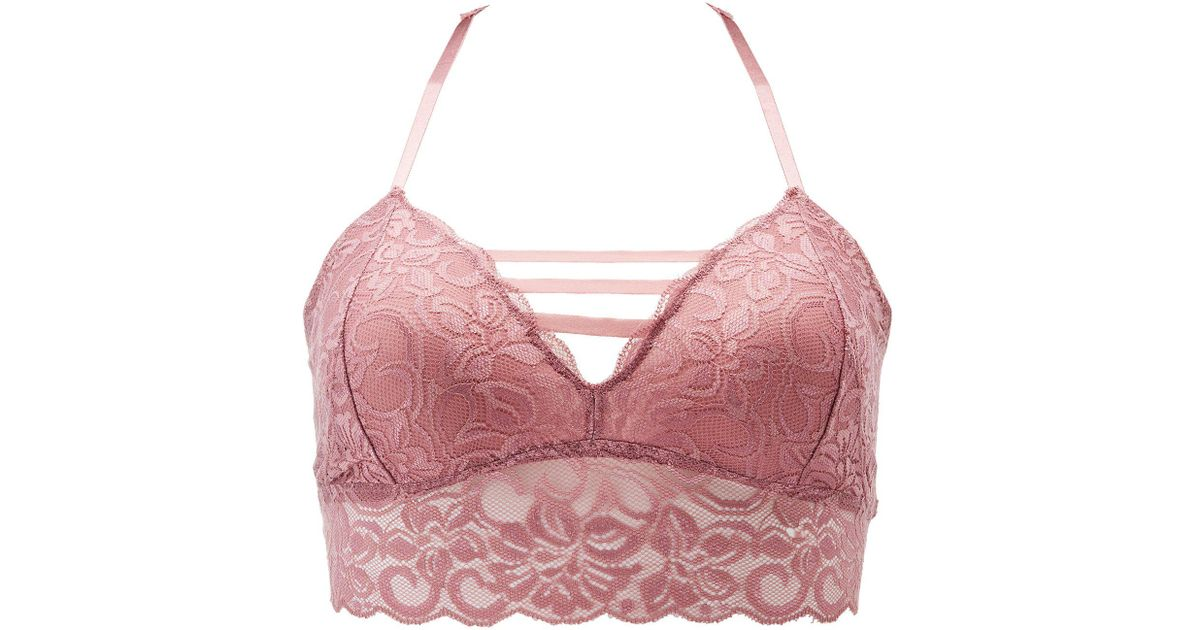 da8cd935ab3195 Lyst - Charlotte Russe Plus Size Caged Lace Racerback Bralette in Purple