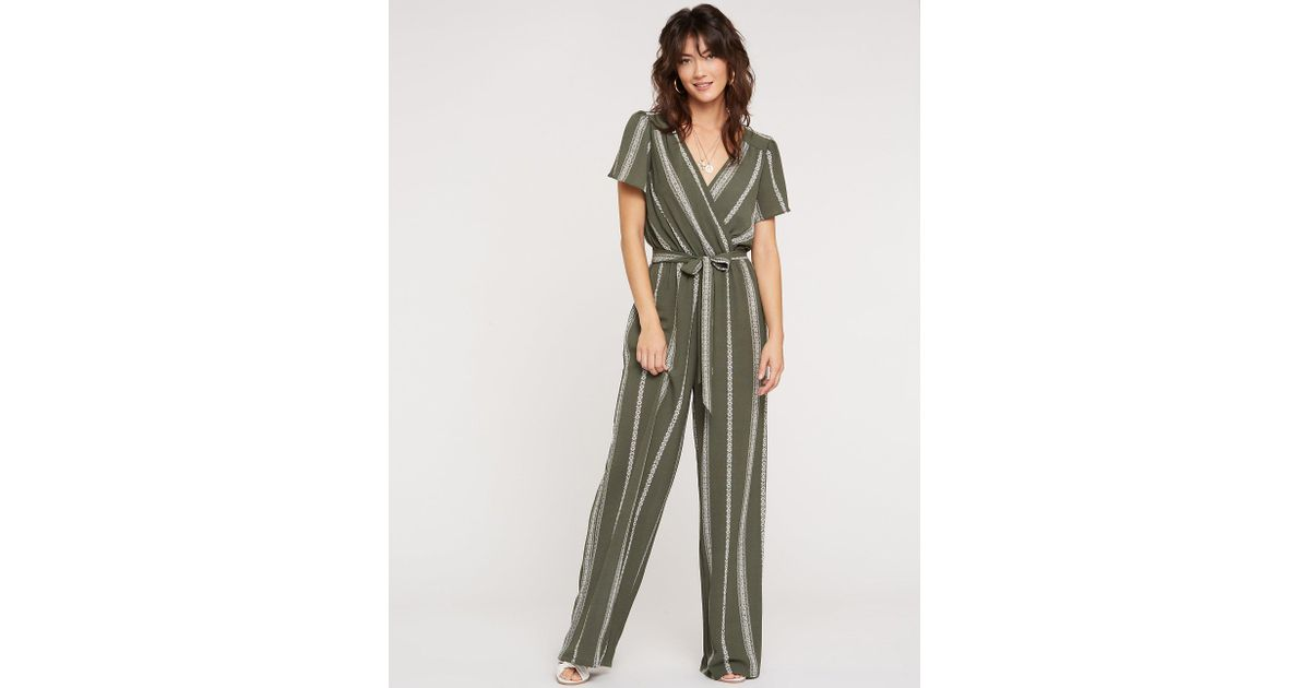 0b8a4bc8658 Lyst - Charlotte Russe Striped Wide Leg Jumpsuit in Green