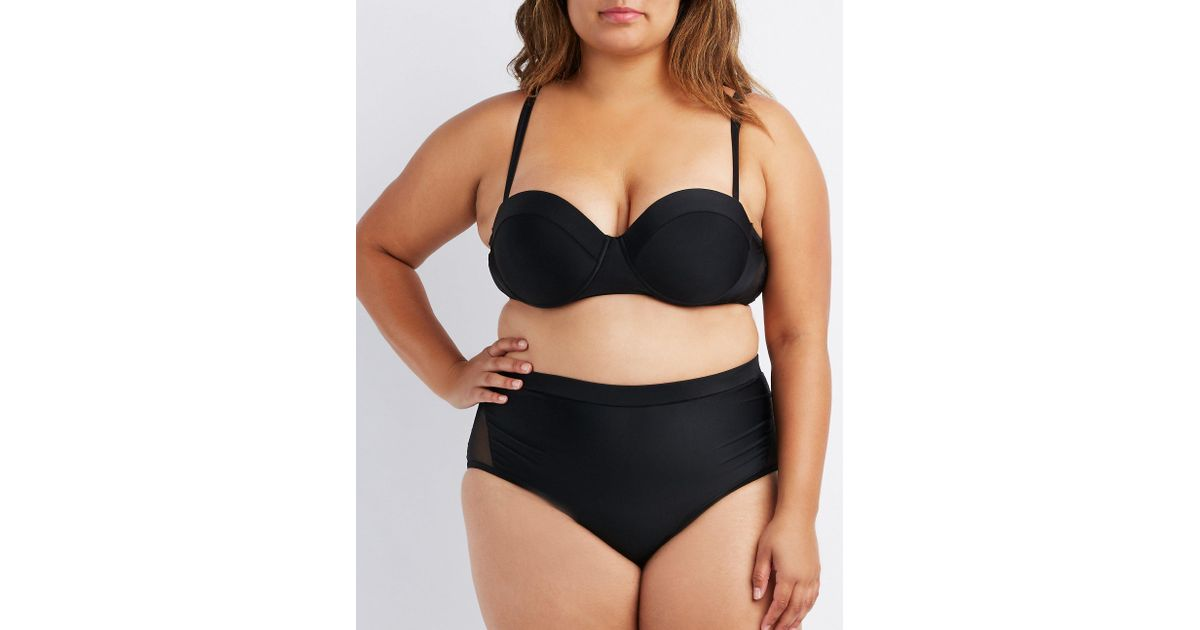 ffeffa13256 Lyst - Charlotte Russe Plus Size Mesh-trim Push-up Bikini Top in Black