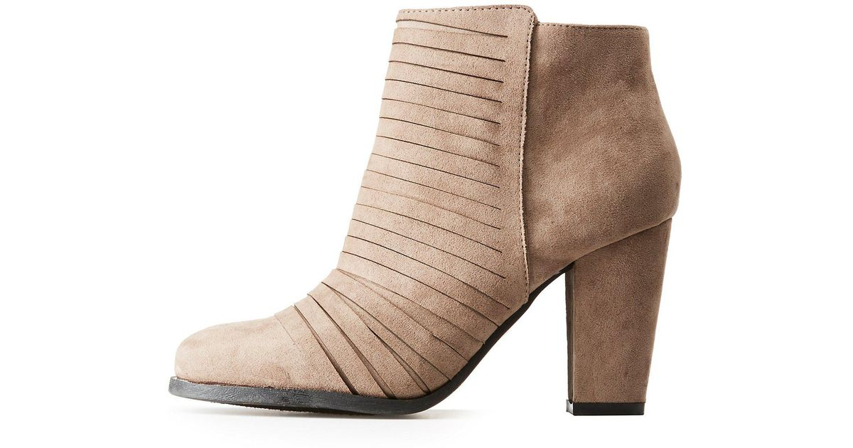 ac961b8551ff Lyst - Charlotte Russe Bamboo Strappy Ankle Booties in Brown