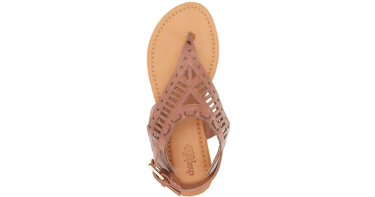 b58bd3b8d Lyst - Charlotte Russe Laser Cut Thong Sandals in Brown