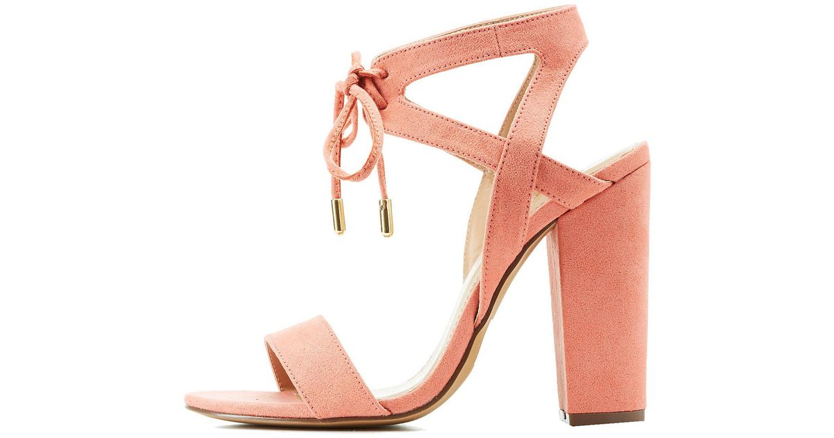 d607053d0bf Charlotte Russe - Pink Caged Lace Up Sandals - Lyst
