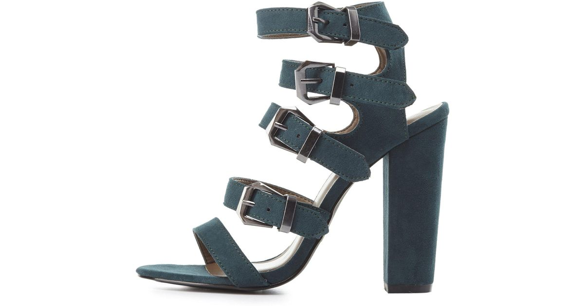 cbb30ab9b159 Lyst - Charlotte Russe Strappy Buckled Chunky Heel Sandals in Green