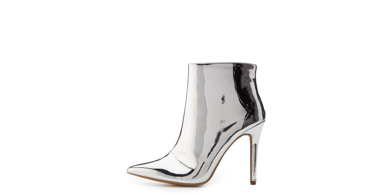 9e63fb5e722a Lyst - Charlotte Russe Qupid Metallic Ankle Booties in Metallic
