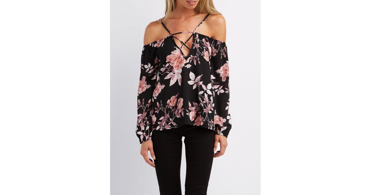 82b4a071f88 Lyst - Charlotte Russe Floral Caged Cold Shoulder Top in Black