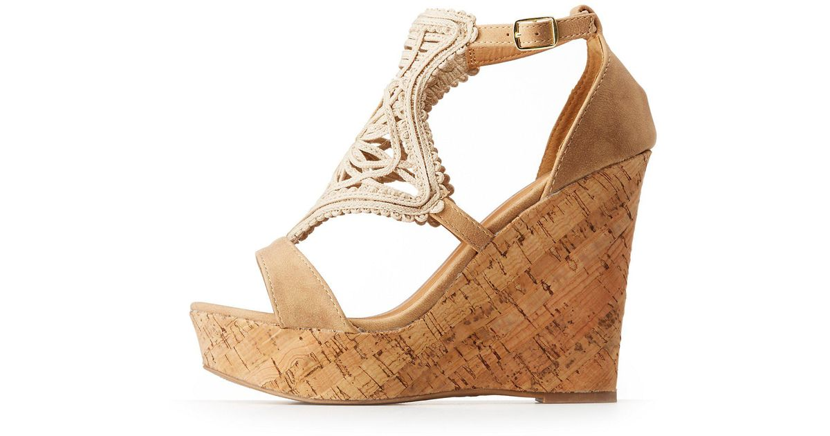 23d0b517c7fc Lyst charlotte russe qupid cork wedge sandals jpeg 1200x630 Charlotte russe  wedges