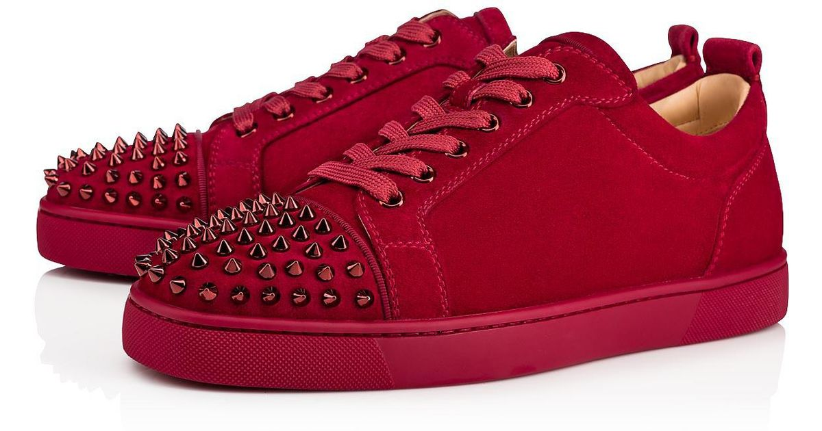 f7b0b718a80 Lyst - Louis Junior Spikes Veau Velours Gros Grain Sanguine Veau velours Christian  Louboutin pour homme en coloris Rouge