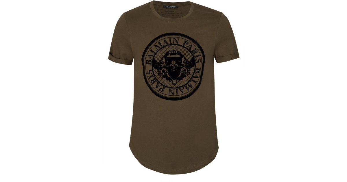 921b0f1b Balmain Paris Coin Logo T-shirt in Green for Men - Lyst