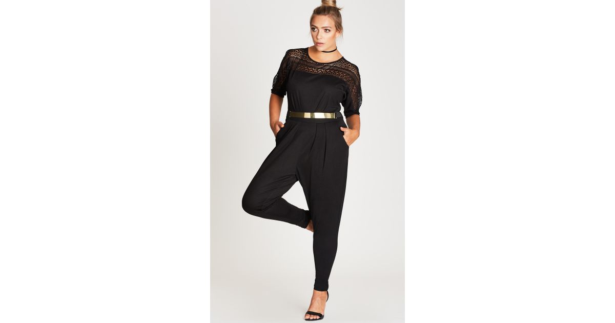 1474bc2c543e City Chic - Black Sports One Jumpsuit - Lyst