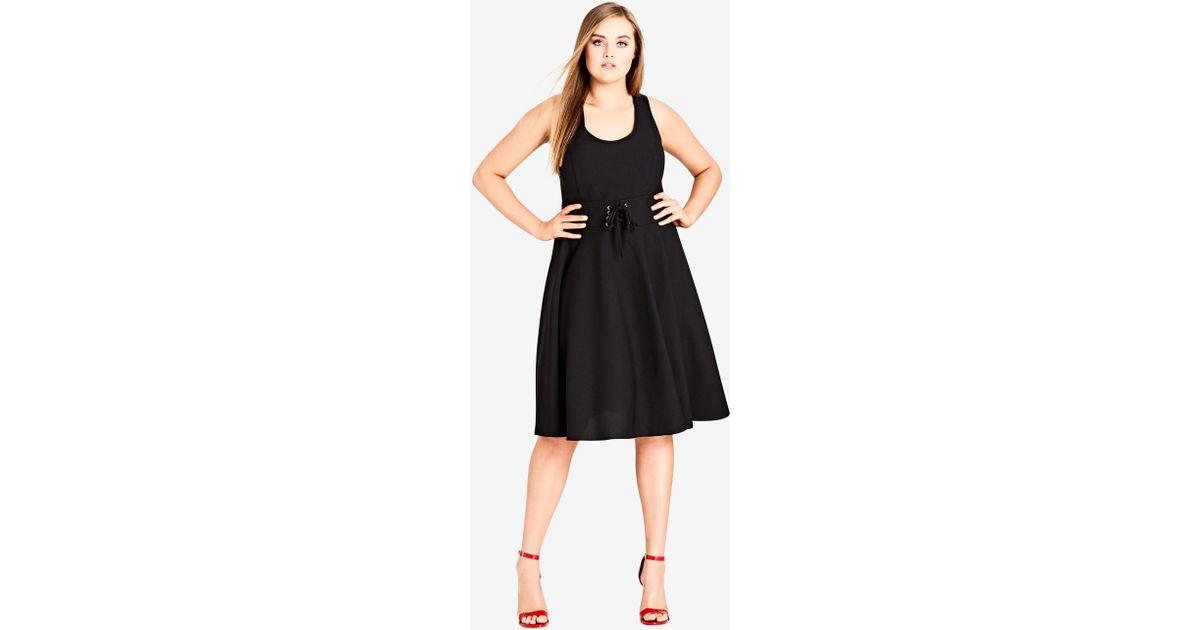 Lyst City Chic Black Cute Midi Dress In Black