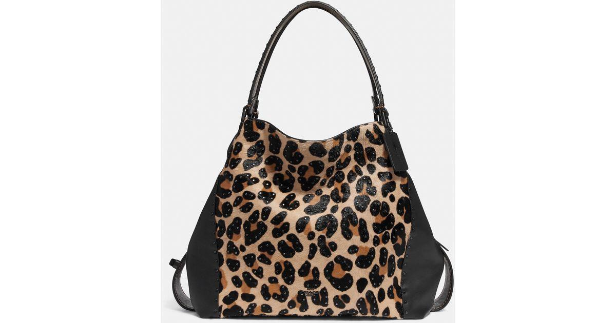 Lyst - COACH Edie Shoulder Bag 42 With Embellished Leopard Print in Black 190d9a292b1ea