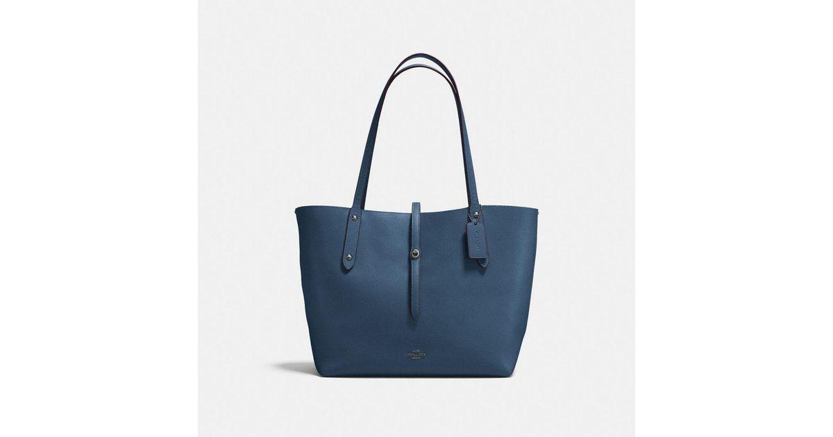 Tote - Pebbled Leather Market Tote Dark Denim Marigold - blue - Tote for ladies Coach AUd08oc