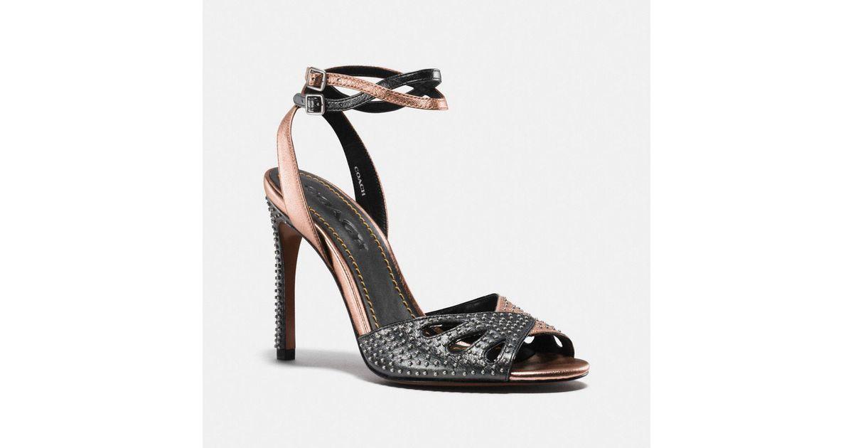 47544a2f43e2 Lyst - COACH Heel Sandal With Prairie Rivets
