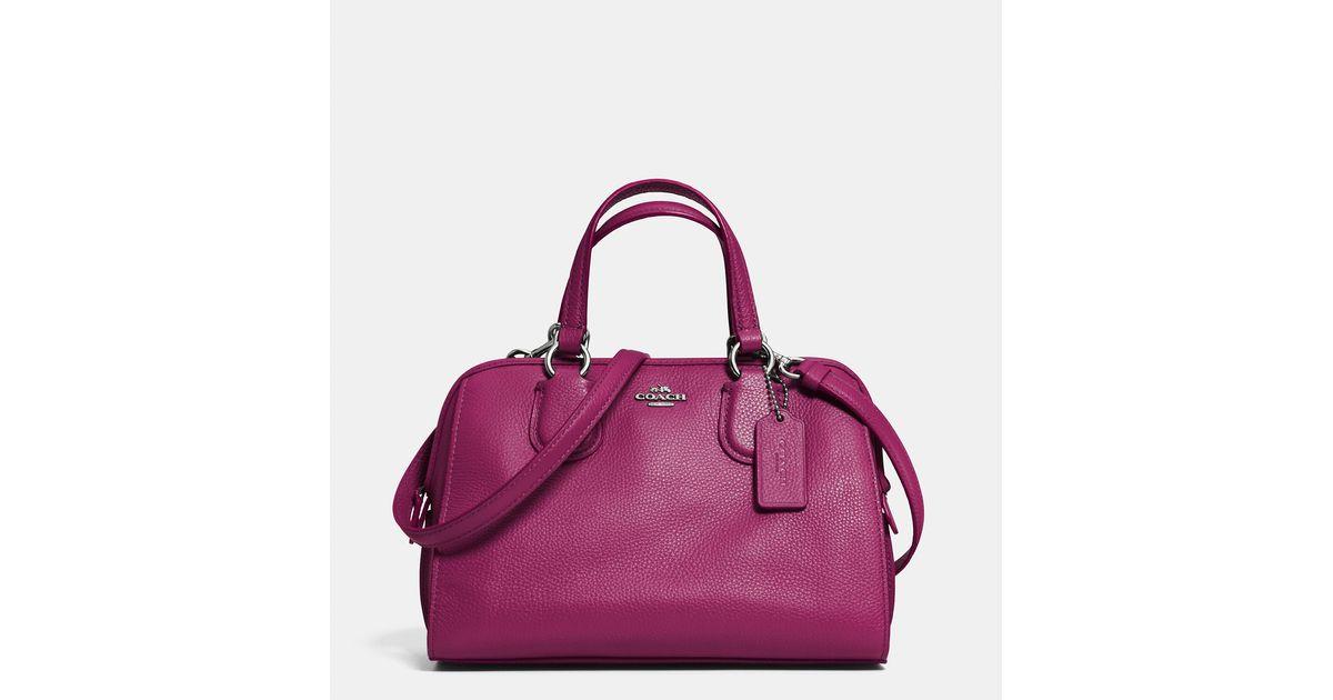 56fc4bd5af Lyst - COACH Mini Nolita Satchel In Leather in Purple