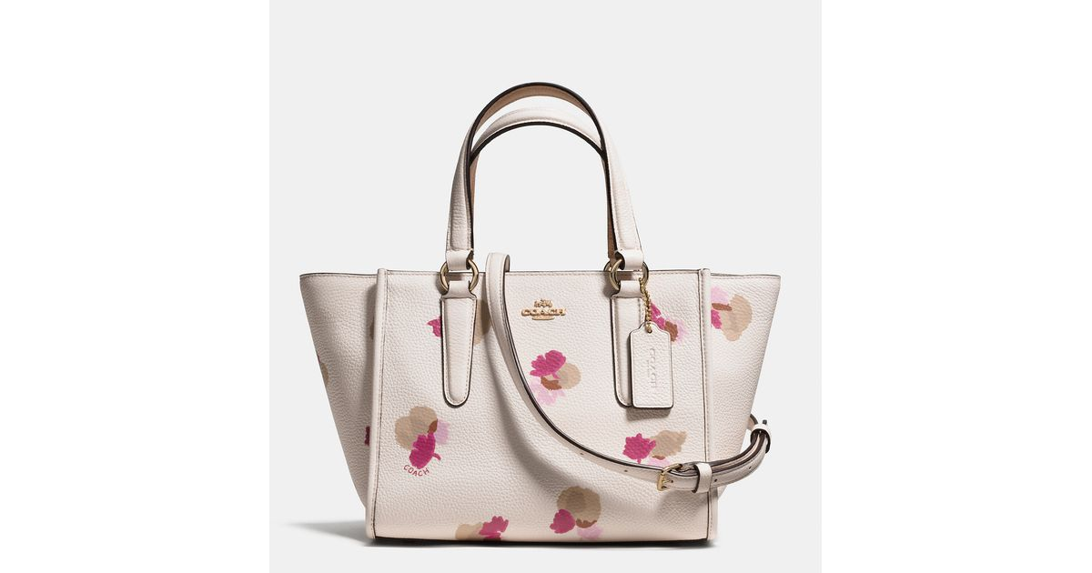 a48d274b30de Lyst - COACH Mini Crosby Carryall In Floral Print Pebble Leather