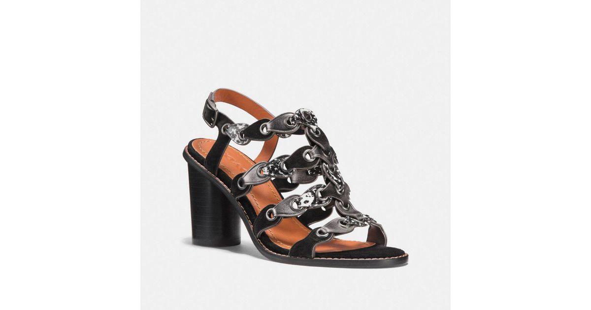 8afaf25af10 Lyst - COACH Mid Heel Sandal With Link in Black