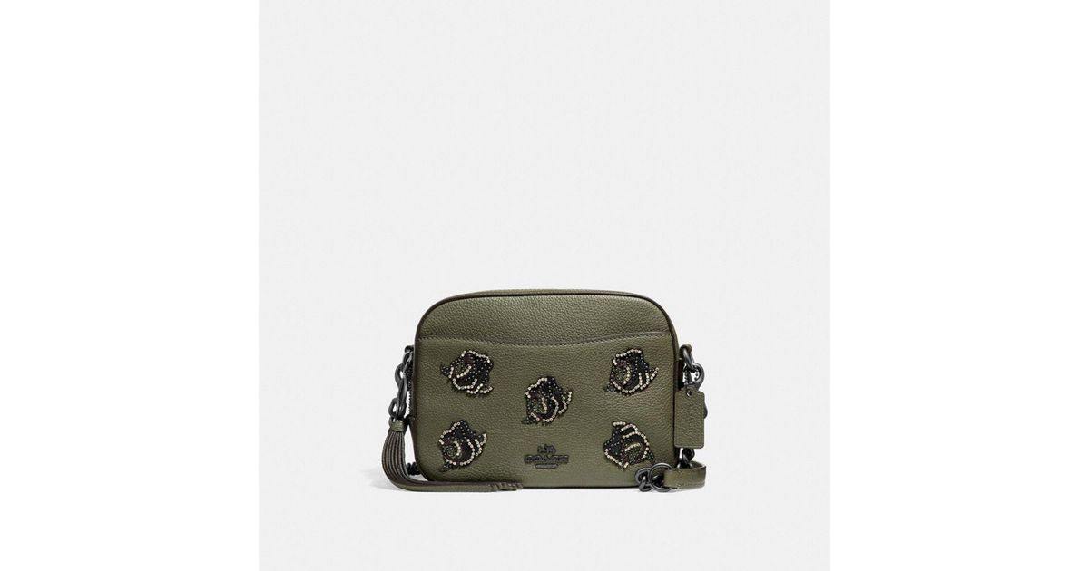 Coach camera bag with rose applique in green lyst