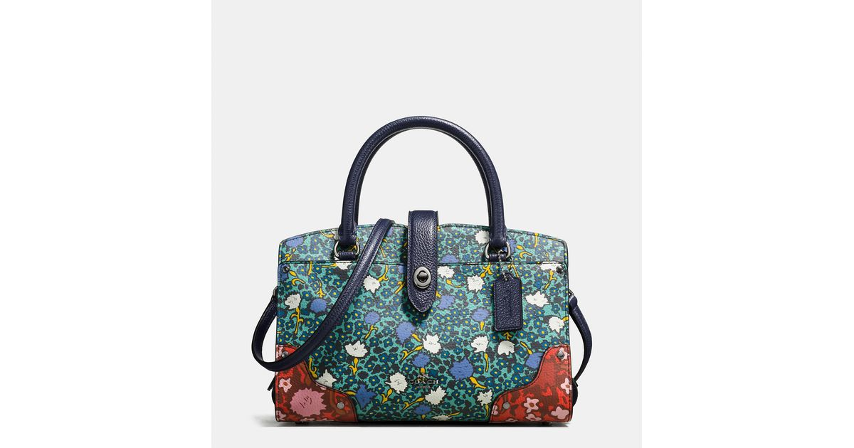 04aeb8e60812 Lyst - COACH Mercer Satchel 24 In Multi Floral Print Polished Pebble  Leather in Blue