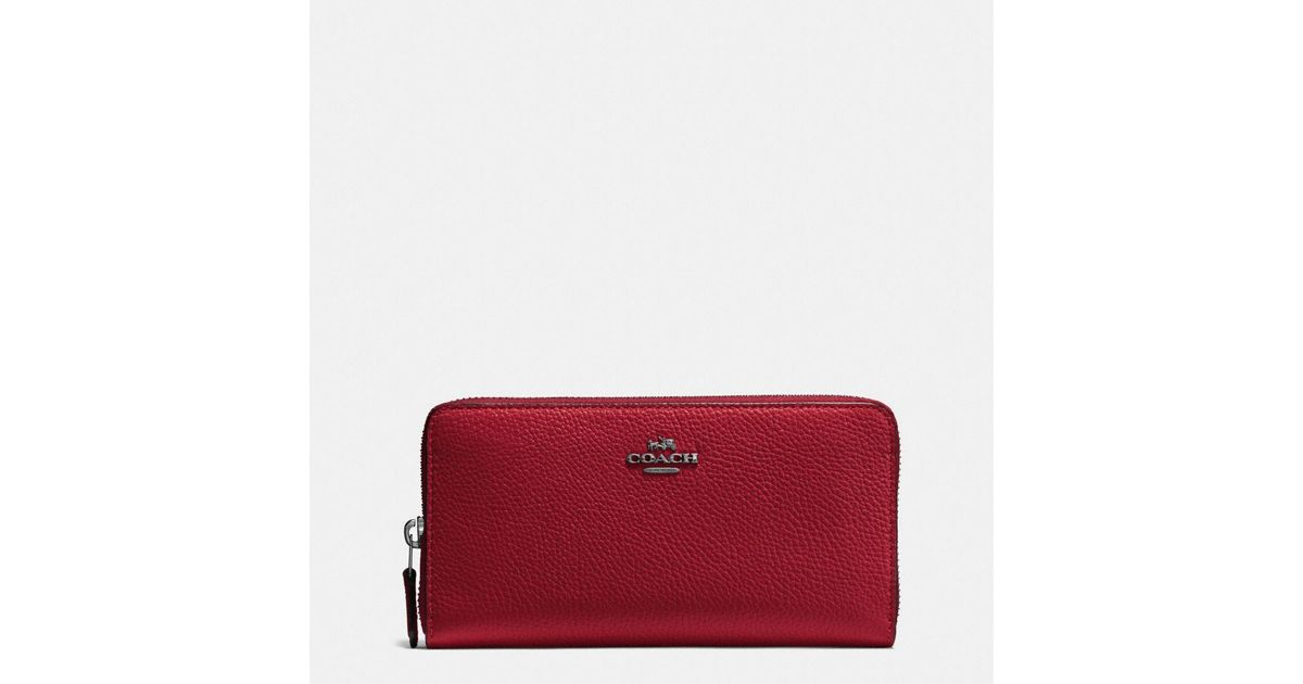 bccbd6b9e7ab Coach Accordion Zip Wallet In Polished Pebble Leather in Red - Lyst